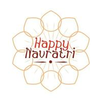 happy navratri indian celebration goddess durga culture floral banner or card flat style icon vector