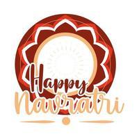 happy navratri indian celebration goddess durga culture ornament decoration flat style icon vector