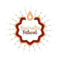 happy navratri indian durga indian religious culture celebration flat style icon vector