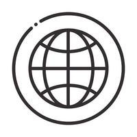 social media global world digital internet network communicate technology line style icon vector