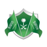 saudi arabia national day flags shield emblem celebration gradient style icon vector