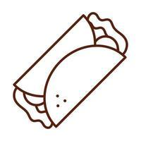 burrito mexicano cena de comida rápida y menú comida sabrosa e icono de estilo de línea poco saludable vector