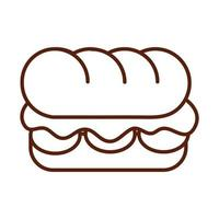 fast food sandwich dinner and menu tasty meal and unhealthy line style icon vector