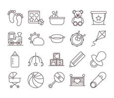 baby feeding toys and clothes welcome newborn icons set line and fill design vector