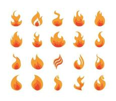 fire flame burning hot glow flat design icons set vector