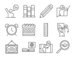 enseñar educación escolar aprender conocimiento y formación iconos conjunto icono de estilo de línea vector