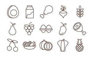 healthy food fresh fruits vegetables and protein ingredient products icons set line style icon vector