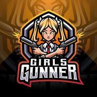 Girls gunner esport mascot logo vector