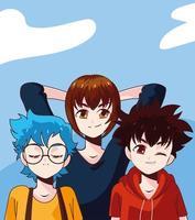 boys manga style vector