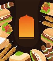 arabic cuisine dishes vector