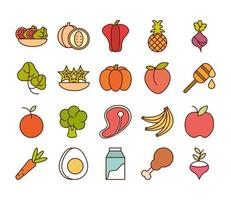 healthy food fresh fruits vegetables and protein ingredient products icons set line and fill style icon vector