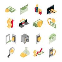isometric money cash currency business coins banknotes isolated on white background flat icons set vector