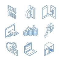 isometric money cash currency business coins banknotes isolated on white background linear blue icons set vector