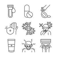 covid 19 coronavirus prevention spread outbreak pandemic line style icons set vector