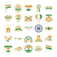feliz día de la independencia india celebración de la libertad iconos nacionales establecidos estilo plano vector