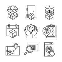 delivery packaging cargo distribution logistic shipment of goods icons set line style design vector