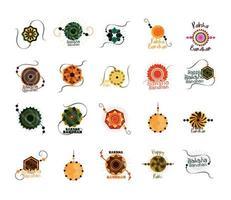raksha bandhan traditional indian wristband of love between brothers and sisters icons set vector
