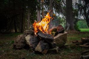 Preparing food on fire photo