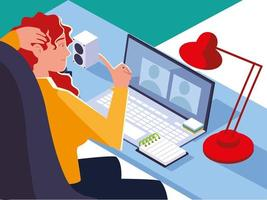 woman working in office behind her desk with desktop computer, workspace vector