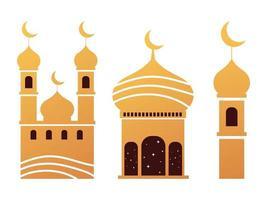 mezquita árabe construcción torres islámico tradicional vector