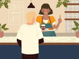 waitress in the coffee shop serves customer vector