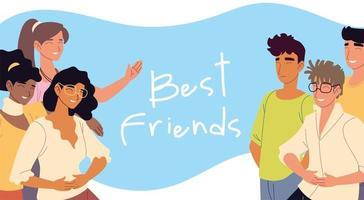best friends women and men characters vector