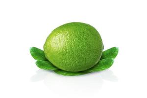 Lime with leaves isolated on white background with drop shadow. photo