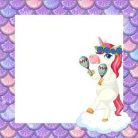 Blank pastel purple fish scales frame template with cute unicorn cartoon character vector