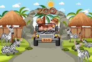 Safari scene with kids on tourist car watching zebra group vector
