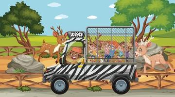 Zoo scene with children in the tourist car vector