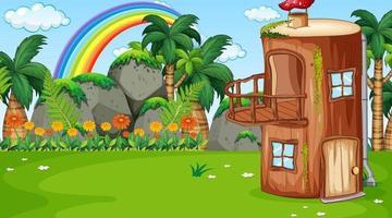 Nature landscape scene background with fantasy log house vector