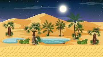 paisaje de bosque desértico en la escena nocturna con oasis vector