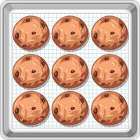 Top view of chocolate chip cookies on tray vector