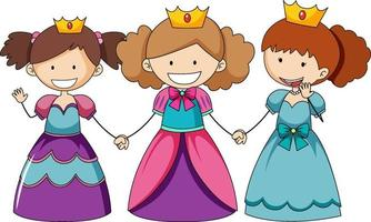 Simple cartoon character of three little princess vector