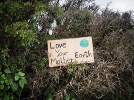 The nature conservation sign on nature background. The concept of World Environment Day. Zero waste. photo