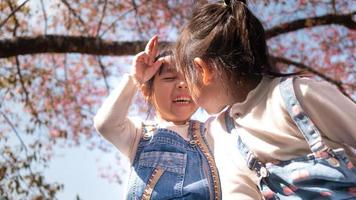 Happy two siblings girls enjoying with nature in the park on sunshine day in springtime. photo