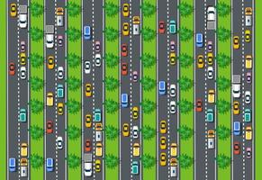 Road top view with highways many different vehicles vector