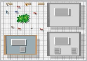Top view of houses and streets with tree vector