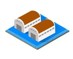 Isometric private house real estate decorative vector