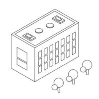 Isometric urban infrastructure houses and buildings sketch vector
