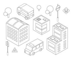 Isometric bus urban infrastructure cars and buses vector
