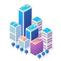 Isometric 3D icon city urban area with a lot of houses vector