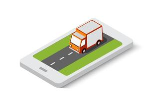 Online delivery transport transportation of isometric city vector