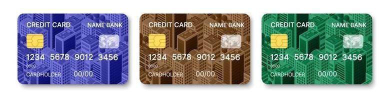 Credit cards set multicolor template vector design