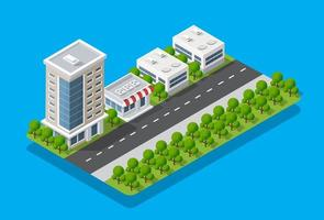 Isometric view of the city. Collection of houses vector