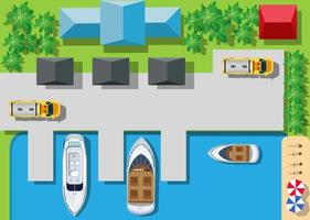 Top viewport marinas with bridges, roads vector