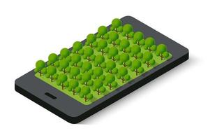 3D map of isometric city mobile phone on the street. vector