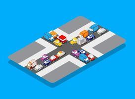 isometric crossroads traffic jam on the street vector