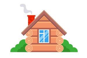 casa de madera privada al estilo ruso. ilustración vectorial plana. vector