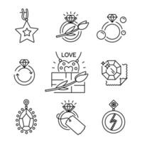 Jewelry icons, Vector outline illustration